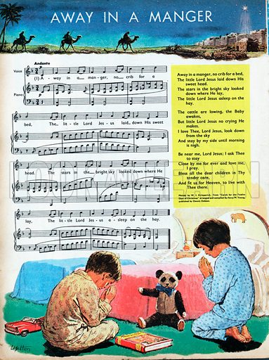 The sheet music for Away in a Manger with text and illustrations.