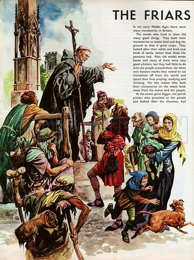 The Wonderful Story of Britain: The Friars Come to Britain. A Franciscan friar preaching in a market place to a motley gathering including a disabled intinerant on crutches.
