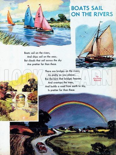 Illustrated poem by Christina Rossetti entitled Boats Sail on the Rivers.