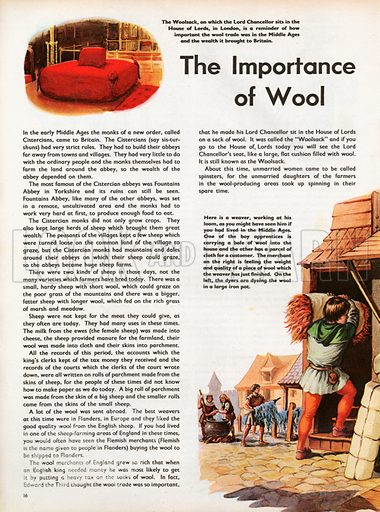 The Wonderful Story of Britain: The Importance of Wool. The Woolsack on which the Lord Chancellor sits in the House of Lords, and mediaeval dyers stirring their wool in a great iron pot.