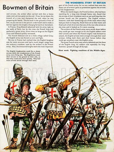 The Wonderful Story of Britain: The Bowmen of Britain. English longbowmen in battle formation firing arrows.