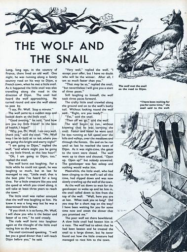Scenes from the French folk-tale The Wolf and the Snail.