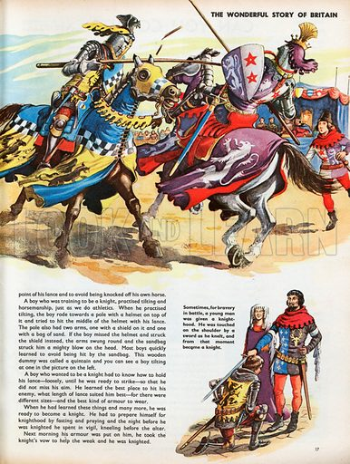 The Wonderful Story of Britain: Learning to be a Knight. Two knights charge each other in a tournament held before the king; a young man is knighted by the king.