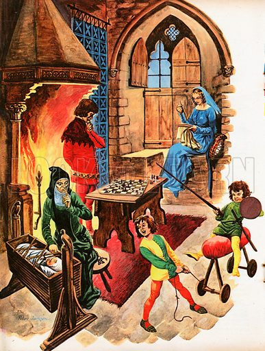 The Wonderful Story of Britain: Home Life in the Middle Ages. Inside the withdrawing room of a mediaeval castle a family relaxes in front of the fire, sons playing at knights, baby asleep, and the lord studying the chess board.