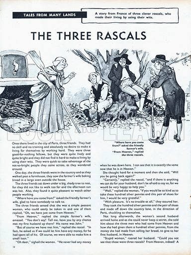 Scenes from the French folk-tale The Three Rascals.