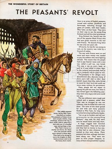 The Wonderful Story of Britain: The Peasants' Revolt. Wat Tyler leading his peasant army into London through the city gate.