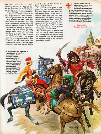 The Wonderful Story of Britain: The Peasants' Revolt. King Richard is surprised by the Mayor of London's suddent attack on Wat Tyler during their meeting at Smithfield; the coat of arms of the City of London.