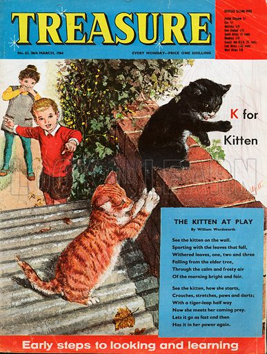 """K"" for Kitten shows a boy and girl watching a ginger and a black and white kitten playing on a corregated tin roof and red brick wall; the text of the poem ""The Kitten at Play"" by William Wordsworth."