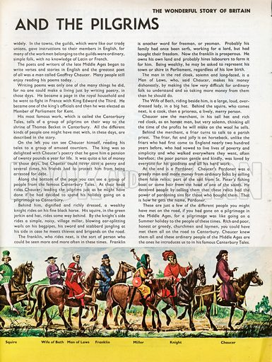 """The Wonderful Story of Britain: The Poet Chaucer and the Pilgrims. A procession of pilgrims from the """"Canterbury Tales"""" led by Chaucer himself, each identified in the border beneath the frieze."""