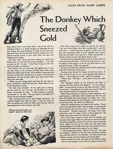 Scenes from The Donkey which sneezed Gold, a folk-tale from Northern Europe.