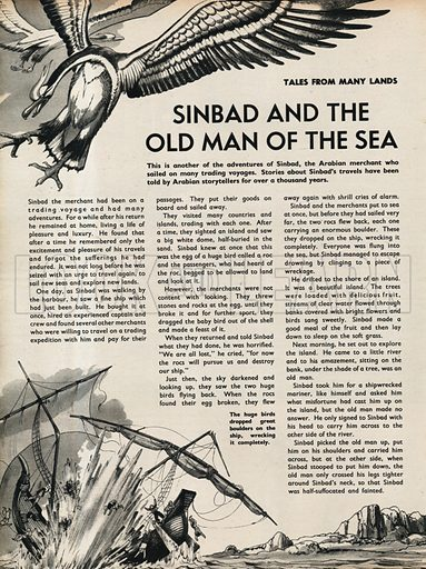 Scenes from the Arabian folk-tale Sinbad and the Old Man and the Sea.