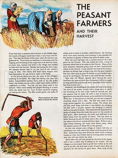 The Wonderful Story of Britain: The Peasant Farmers and their Harvest. Women harvest wheat with sickles as two men thresh wheat with flails.