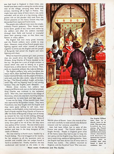The Wonderful Story of Britain: Joan of Arc. Joan being tried by a church court headed by her enemy the Bishop of Beauvais.