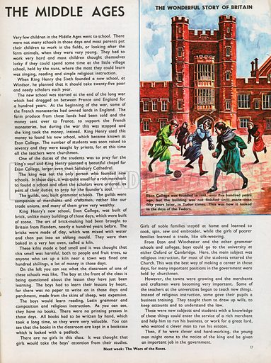 The Wonderful Story of Britain: Schools in the Middle Ages. Eton College in Tudor times with boys playing football in the great court.
