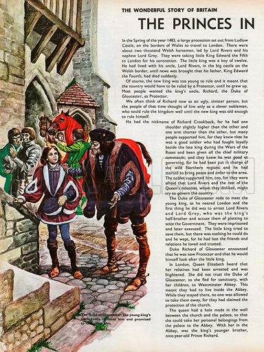 The Wonderful Story of Britain: The Princes in the Tower. The Duke of Gloucester, young King Edward's uncle, has ridden to meet him and promises to look after him.