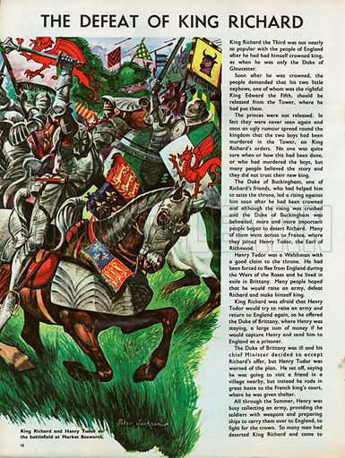 The Wonderful Story of Britain: The Defeat of King Richard. King Richard and Henry Tudor on the battlefield at Market Bosworth.