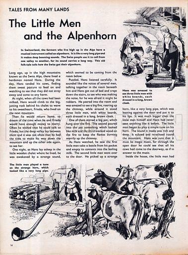 Scenes from the Swiss folk-tale The Little Men and the Alpenhorn.