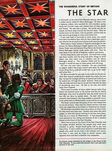 A prisoner being examined by the judges in the Court of the Star Chamber, which was so-called because there were stars painted on the roof.