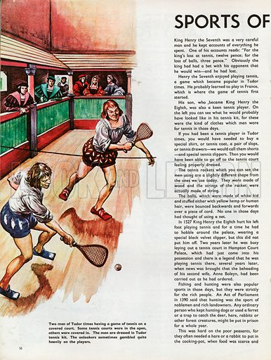 The Wonderful Story of Britain: Sports of Tudor Times. Two men of Tudor times playing tennis on a covered court watched by onlookers.
