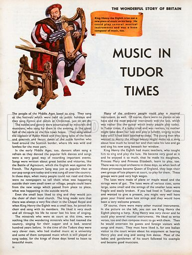 The Wonderful Story of Britain: Music in Tudor Times. Henry the Eighth plays a piece of music on his harp which he may have composed himself.