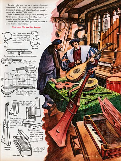 The Wonderful Story of Britain: Music in Tudor Times. A maker of musical instruments in his shop playing a lute for a customer; the various instruments on display are explained by the key which shows line drawings of each one.
