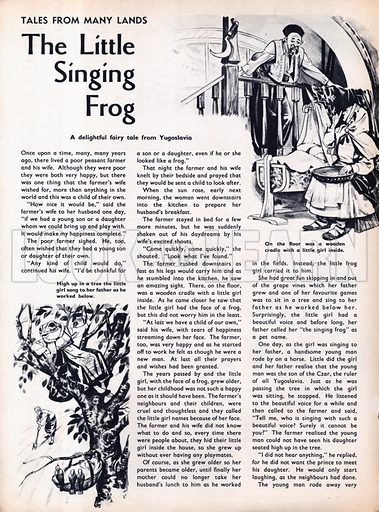 Scenes from the Yugoslavian fairy-tale The Little Singing Frog.
