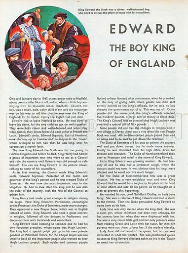 The Wonderful Story of Britain: Edward the Boy King of England. King Edward the Sixth, a clever, well-educated boy, enjoys discussing affairs of state with his councillors.