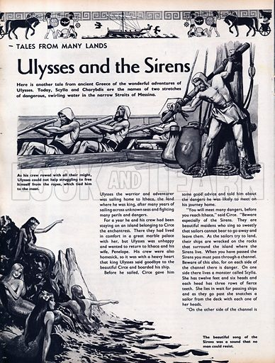 Scenes from the Greek legend Ulysses and the Sirens.