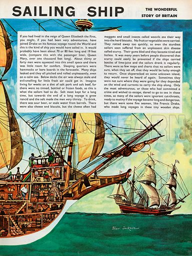 The Wonderful Story of Britain: The Elizabethan Sailing Ship is a cut-away illustration giving a detailed picture of the various parts of a large ship with a simplified key by way of explanation.