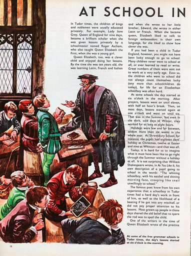 The Wonderful Story of Britain: At School in Tudor Times. A classroom in one of the free grammar schools in Tudor times, boys misbehaving and the schoolmaster ready with the birch.