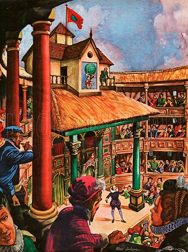 The Wonderful Story of Britain: The Globe Theatre is full of people who have come to see Shakespeare's new play and Shakespeare himself is on the stage explaining the play to them.
