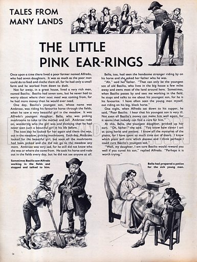 Scenes from The Little Pink Ear-rings, a folk-tale from Italy.