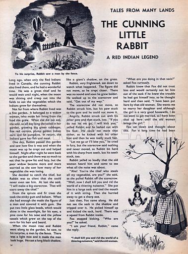 Scenes from the Red Indian legend The Cunning Little Rabbit.