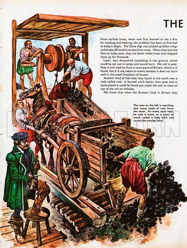 The Wonderful Story of Britain: The First Coal Miners. A tallyman notches up how many loads of coal leave the mine as a miner fills a cart and others hoist more to the surface.