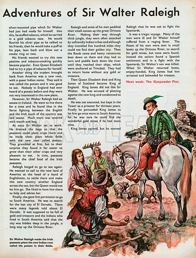 The Wonderful Story of Britain: The Adventures of Sir Walter Raleigh. Sir Walter Raleigh makes the Irish peasants plant the new Indian root called the potato in their fields.