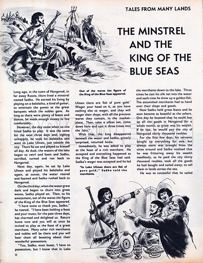 Scenes from the Russian folk-tale The Minstrel and the King of the Blue Seas.