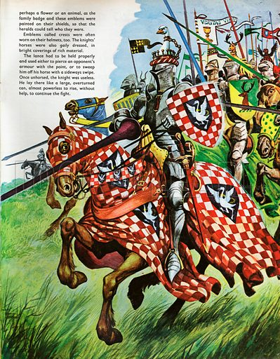 The Wonderful Story of Britain: Knights and their Armour. Knights charging into battle protected from head to foot by their strong suits of armour.