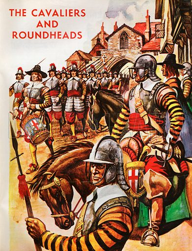 The Wonderful Story of Britain: The Cavaliers and Roundheads. A group of pikemen of the New Model Army march into battle led by a drummer.