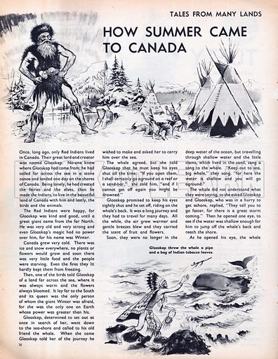 Scenes from the Red Indian folk-tale How Summer came to Canada.