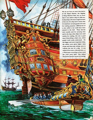 The Wonderful Story of Britain: His Majesy's Ships. The Royal Charles, flagship of King Charles's fleet, with its splendid flat stern decorated all over with gilded wooden sculptures.