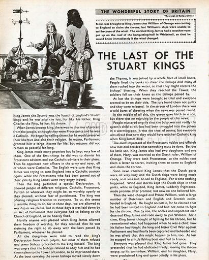 The Wonderful Story of Britain: The Last of the Stuart Kings. King James the Second places a weather-vane on the roof of the banqueting-hall in Whitehall.