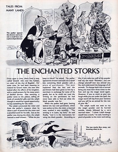 Scenes from the Middle Eastern folk-tale The Enchanted Storks.