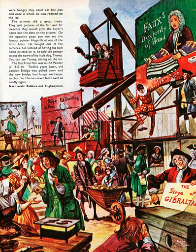 The Wonderful Story of Britain: Fairs and Fun for the People. Bartholomew Fair with crowds enjoying the rides, stalls, jesters and musicians , as they throng round the various stages and booths.