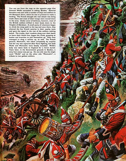 The Wonderful Story of Britain: The Capture of Quebec. The British soldiers make the arduous ascent of the Heights of Abraham to take Quebec.