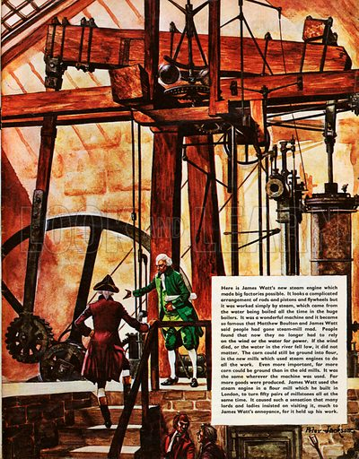 The Wonderful Story of Britain: The New Steam Engines. James Watt and Matthew Boulton with the new steam engine.