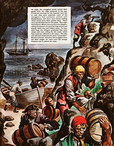The Wonderful Story of Britain: Smugglers and Wreckers. Smugglers bringing their goods ashore from their ships anchored in the bay.