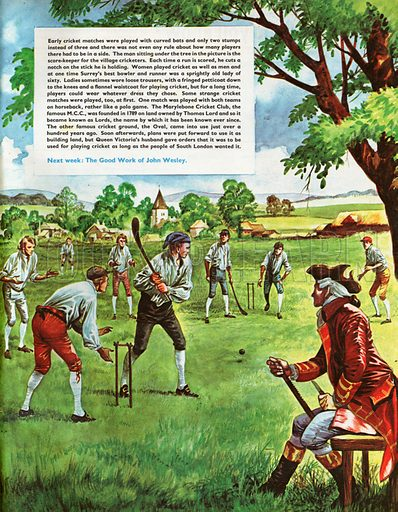 The Wonderful Story of Britain: Fun and Games for the People. A early cricket match played by villagers with curved bats and only two stumps, the scorer cutting notches on his stick for each run scored.
