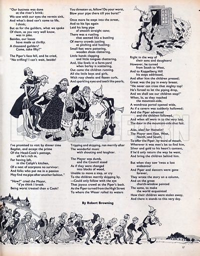 Scenes from The Pied Piper of Hamelin, a poem by Robert Browning based on a legend from Germany.