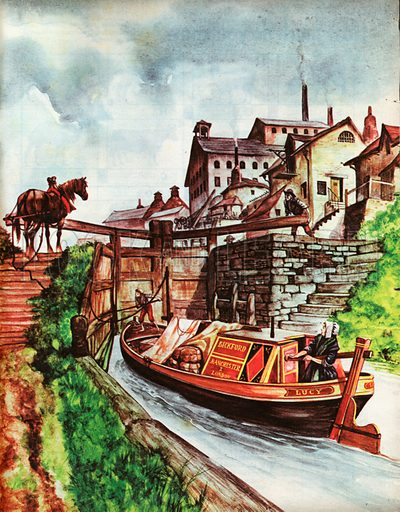 The Wonderful Story of Britain: Why Canals Were Made. A canal barge, for transporting porcelain and earthenware from the Potteries, waits at a lock after a horseman has towed it into place.