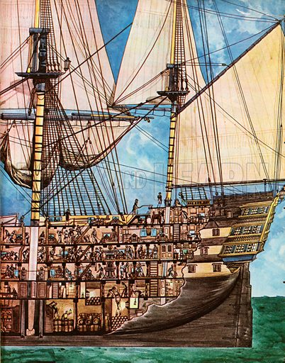 The Wonderful Story of Britain: Admiral Nelson's Famous Ship. HMS Victory is shown with a partial cutaway from the prow to the central mast sunk deep into the ducts, revealing the crew activity and gunpowder stores.